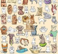 114款猫和狗矢量素材