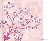 开花的裸子植物花纹矢量图