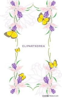 国花卉、水果与蝴蝶花边矢量素材图片