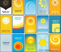 太阳主题卡片名片背景矢量素材
