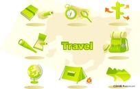 一套旅游用品绿色图标
