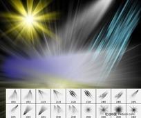 光束、爆炸光效射线PS笔刷