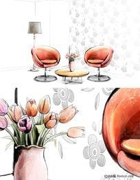手绘室内效果图-沙发摆设