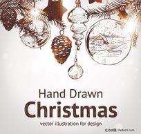 手绘圣诞节元素矢量素材