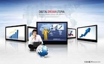 电子商务金融大屏幕图片素材