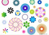 多彩旋转圆形图案矢量素材