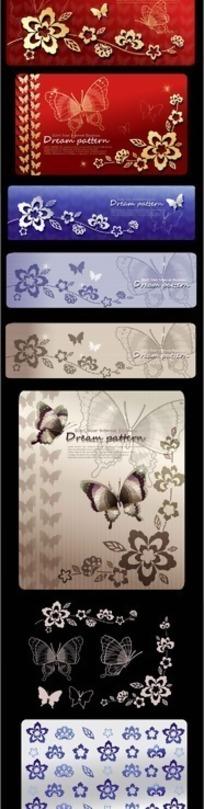 韩国蝴蝶与花朵背景AI矢量素材