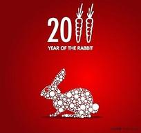 雪花底纹兔子矢量素材01