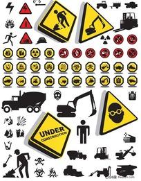 07-施工中注意安全图标素材