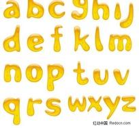 黄金立体水晶小写字母
