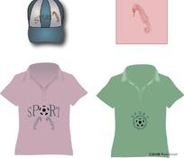 海马形象图案和帽子T恤衫图案设计