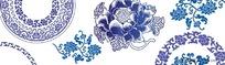 青花瓷花纹 边框