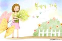 捧着鲜花的小女孩插画图片