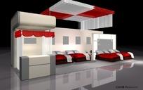 红白一面式展示展台展柜设计