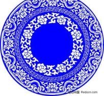 中国风青花瓷矢量素材