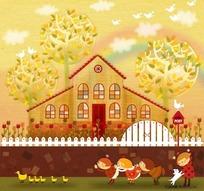 一群小孩和小鸭子插画