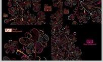 暗影線描抽象花卉矢量素材
