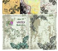古典花边纹饰斑驳老旧背景矢量素材