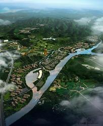 房地产规划鸟瞰图景观设计PSD分层素材