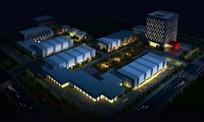 夜景工程鸟瞰图景观设计PSD分层素材