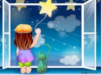 牵着星星望着窗外的小女孩