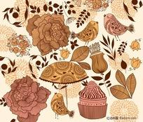 女性花朵图案主题矢量素材