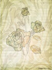 3朵金黄色玫瑰花花纹