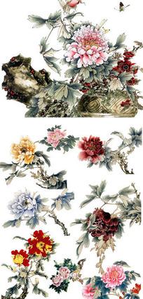 古典国画牡丹素材