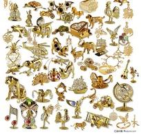 黄金摆件饰品PSD分层素材