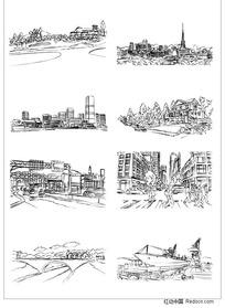 城市建筑手绘矢量