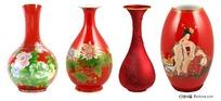 中国红瓷花瓶psd素材
