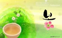 韩国水墨背景-花
