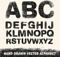 手绘线稿英文字母矢量素材