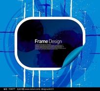 蓝色标题框花纹元素