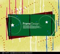 绿色标题框花纹元素