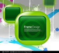 绿色卡通标题框花纹元素