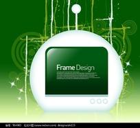 时尚绿色标题框花纹元素