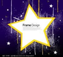 五角星标题框花纹元素