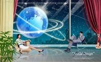 科技元素-窗外地球