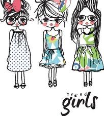 卡通时尚小女孩插画矢量素材
