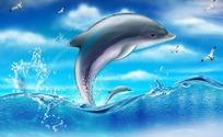 海豚戏水表演跳跃