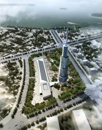 塔式建筑鸟瞰效果图