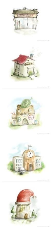 可爱手绘房子造型PSD