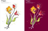 精美矢量黃色花朵插畫