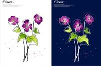 精美矢量紫色花朵插畫