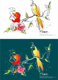 手绘矢量花鸟插画设计