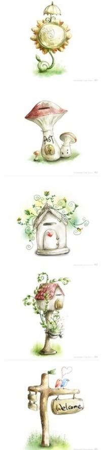 手绘艺术生活插画图标