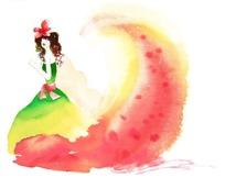 美女和红色渲染插画