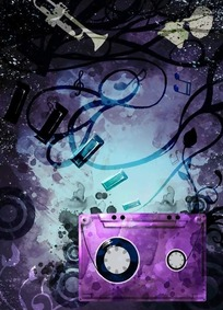 紫色梦幻磁带图片PSD