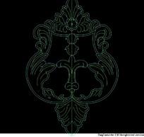 门饰图纸-中间对称的花叶纹